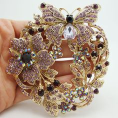 Cheap pin chain, Buy Quality pin loop directly from China crystal hijab pins Suppliers: Vintage Style Butterfly Flower Brooch Pin Pendant Purple Austrian Crystal Free Shipping