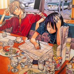 New Anime/manga obsession: Bakuman. An anime/manga about...creating anime and manga. The same writer/artist team that created Death Note.