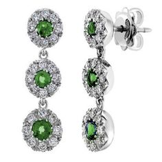 1.40Ct Beautiful Real Diamond Earrings With Natural Colombian Emerald 14K Gold #ishqq #Chandelier