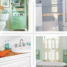 28 Thrifty Upgrades  Reviving a tired washroom needn't require a total overhaul. In the following gallery, see how updated fixtures, painted floors, smart storage solutions, and creative wall, window, and mirror treatments can add character and style at an affordable price.