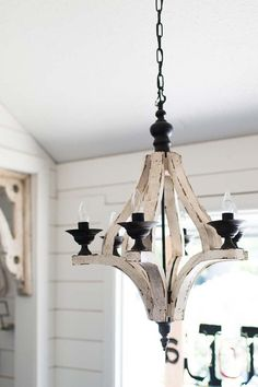 Antiqued White Cottage Distressed 6 Arm by GracefullyRestored