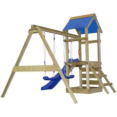 vidaXL Playhouse Set with Ladder, Slide and Swings 290x260x245 cm Wood