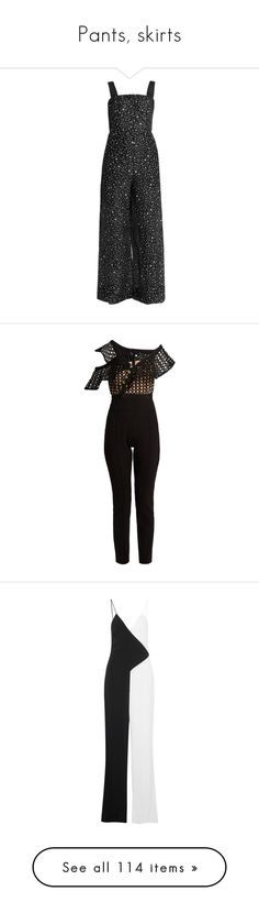 """""""Pants, skirts"""" by bliznec ❤ liked on Polyvore featuring jumpsuits, strappy jumpsuit, jump suit, white and black jumpsuit, crepe jumpsuit, black white jumpsuit, pants, tomato red, zip pants and tailored trousers"""