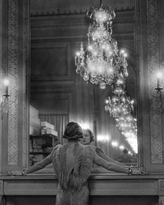 1930s, b/w photography, black and white, chandelier, classy,