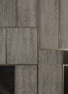 Dark handcut brick within meticulous metal frame, brick creates gaps, frame keeps it all rigid. structure is concrete frame internally. Floor Patterns, Textures Patterns, Wall Textures, Architecture Details, Interior Architecture, Joinery Details, Inspiration Design, Wall Finishes, Wall Cladding