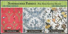 Schumacher Chinoisierie - Garden Song, Le Petit Chasseur, Shantung Blossoms. Ready to Create or Sell By The Yard. Just 2 yards each. Please contact calicodaisy.etsy.com