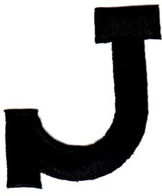"""[Single Count] Custom and Unique (1 3/4"""" Inches) American Alphabet Simple Script Capital Letter J Iron On Embroidered Applique Patch {Black Color}"""