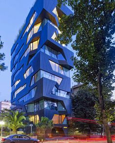 Aytac Architects have designed this 10 story apartment building in Istanbul, Turkey. The architect's description The building pays homage to the areas completely destroyed vineyards, due to the densification of the city with [. Architecture Design, Facade Design, Futuristic Architecture, Beautiful Architecture, Residential Architecture, Contemporary Architecture, Building Facade, Building Exterior, Building Design