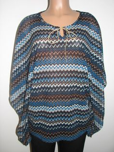 Christin Michaels Women's  Jamie Blouse Blue/Multi,Medium from fr-gifts