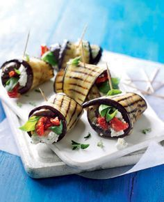 yogurt and aubergine rolls For a quick vegetarian recipe, wrap charred slices of aubergine in feta and yogurt marinade to make these rolls.For a quick vegetarian recipe, wrap charred slices of aubergine in feta and yogurt marinade to make these rolls. Vegetarian Canapes, Quick Vegetarian Meals, Vegetarian Starters, Vegetarian Platter, Easy Dinner Party Recipes, Canapes Recipes, Easy Canapes, Cooking Recipes, Healthy Recipes