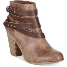 Material Girl Mini Strapped Booties, ($70) ❤ liked on Polyvore featuring shoes, boots, ankle booties, dark taupe, mini boots, ankle strap booties, strappy booties, low ankle booties and low boots