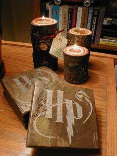 POTTERHEAD COASTER SET - Carved Natural Slate Stone - Harry Potter Inspired Drink Coasters