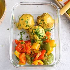 Sheet pan zucchini chicken meatballs baked with gorgeous roasted bell peppers and drizzled with a flavorful coconut curry sauce. This easy, incredibly delicious recipe is packed with protein and great for meal prep! Healthy Gluten Free Recipes, Healthy Recipe Videos, Heart Healthy Recipes, Diet Recipes, Chicken Recipes, Cooking Recipes, Diet Meals, Diabetic Recipes, Baked Chicken Meatballs
