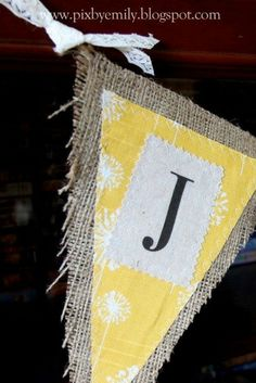 JOY burlap banner in yellow