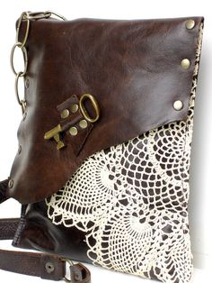Brown Leather Boho Messenger Bag with Crochet by Urban Heirlooms