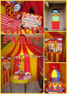 Love this ! Great idea for a school fete Create this circus tent look with Red & Yellow (or white and red) plastic tablecovers $4.50 www.24-7partypaks.com.au. Each classroom can create a Circus Prop or Circus game - Step right up Folks !