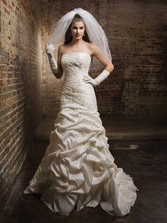 Strapless A-line taffeta bridal gown