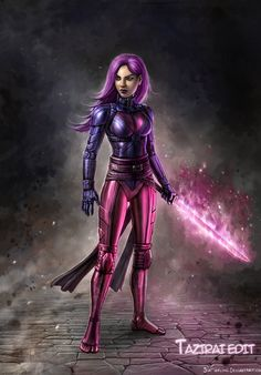 Psylocke had changed her costume, but I didn't realize it until now! Sadly, the ignorant me never reads any comics. X-Force Psylocke Comic Character, Character Concept, Concept Art, Character Design, Marvel Girls, Marvel Comics, Comic Art, Comic Books, Warrior Outfit