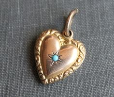 Victorian Puffy Repousse Heart Charm with Persian Turquoise on Etsy, $40.00