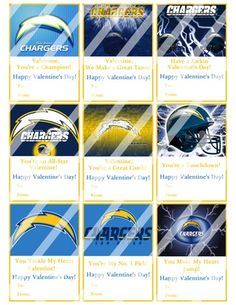 San Diego Chargers Printable Digital Valentines Day Cards #1