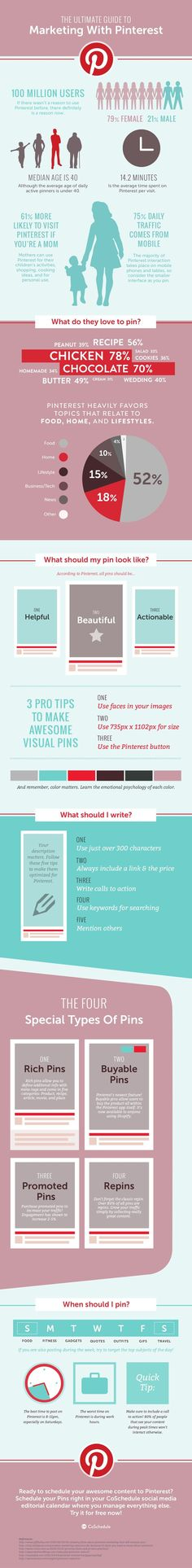 The Ultimate Guide On How To Use Pinterest For Marketing - infographic. #marketing #socialmedia #pinterest