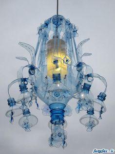 Recycled PET bottle into pendant lamp by Veronika Richterová Plastic Recycling, Recycle Plastic Bottles, Plastic Bottle Crafts, Plastic Art, Recycled Bottles, Recycled Crafts, Plastic Design, Pet Bottle, Bottle Lights