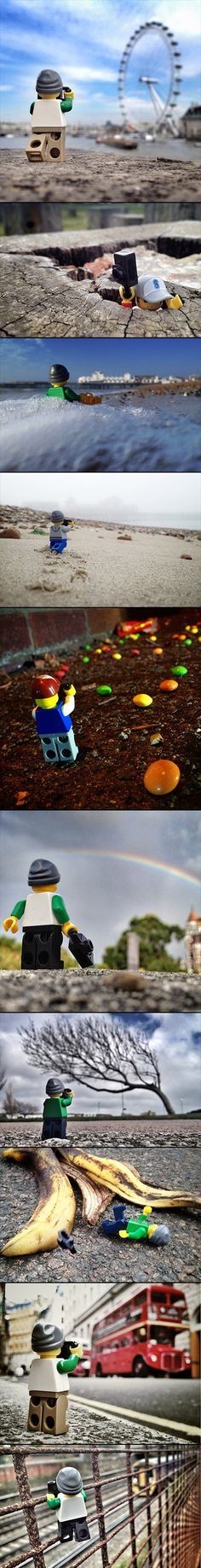 Photographer Andrew Whyte has found a new way to incorporate LEGOs into the world in his series, The Legographer. The whimsical collection features a little LEGO figure placed into all kinds of fun and unexpected settings Figure Photography, Lego Photography, Creative Photography, People Photography, Photography Ideas, Legos, Lego People, Creative Landscape, Lego Figures