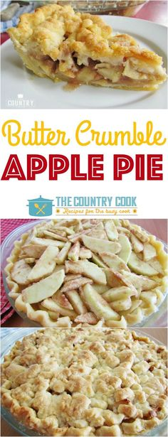 Butter Crumble Apple Pie recipe from The Country Cook. Best apple pie ever! Butter Crumble Apple Pie is hands-down the best apple pie recipe there is. An easy, flaky crust, amazing filling and butter crumble topping! Easy Desserts, Delicious Desserts, Yummy Food, Italian Desserts, Apple Pie Recipes, Baking Recipes, Baking Ideas, Pie Dessert, Dessert Recipes