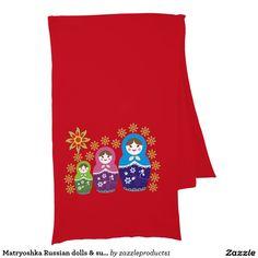 Matryoshka Russian dolls & sunflowers custom Scarf
