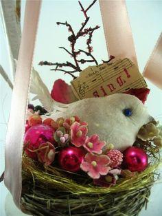 Bird nest hanging decoration
