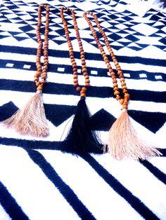 Balinese Sandalwood Mala Necklace $17 + range of tassel colors on request*