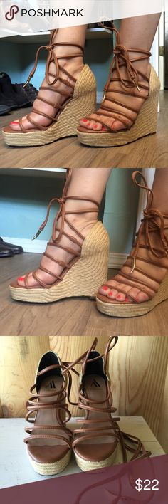 """/ava & aiden/ platform espadrille wedges Ava & aiden espadrille sexy platform wedges- leather upper, long ties to cross-cross on ankle & tie, can go in the front or the back. 1.5"""" platform, 4.5"""" wedge height. Size 8.5 Ava & Aiden Shoes Espadrilles"""