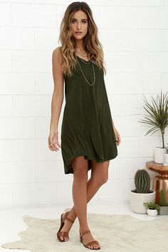 The Breezy Dark Green Swing Dress at Lulus.com!