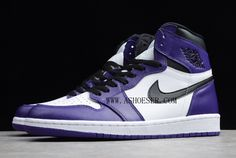 This Air Jordan 1 features a clean Court Purple, White and Black color combination. It will come with White on the base and tongue while Court Purple is applied to the overlays, ankle collar, around the toe and heel. A black Swoosh hit on the mid-panel and black Wings logo on the collar are standard-issue Jordan 1 design elements. Jordan Brand completes the look with a white midsole and Court Purple outsole. Clean White Leather, Purple Leather, Black Color Combination, Wings Logo, Black Wings, Jordan 1 Retro High, Nike Air Force, Air Jordans, Sneakers Nike