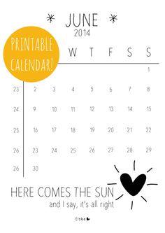 June - printable calendar | Elske | www.elskeleenstra.nl