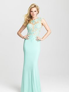 Seafoam Lace Illusion Special Occasion Dress