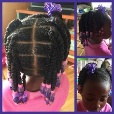 Twists and beads. Natural hair. Little girl.