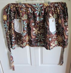 Half Apron Brown Blue and White Floral by keeperofthedragonfly,