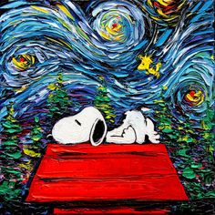 Snoopy Art - Peanuts Cartoon Starry Night print van Gogh Never Hit Snooze by Aja 8x8, 10x10, 12x12, 20x20, and 24x24 inches choose size