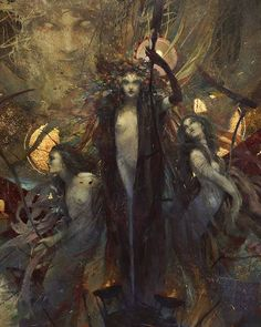 """Very large Fine Art Print """"Les Fleurs du Mal"""" - size - limited to 500 copies, gilded with gold leaf, numbered, signed by stamping. Temptation Of St Anthony, The Flowers Of Evil, Contemporary Abstract Art, Dark Art, Traditional Art, Art Inspo, Fantasy Art, Dark Fantasy, Character Art"""