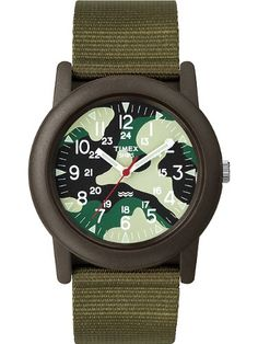 Timex Unisex Camper Camouflage Dial Resin Case Green Fabric Strap Watch T2N207: Watches: Amazon.com
