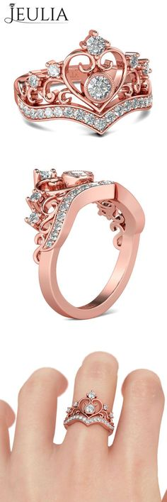 Rose Gold Round Cut Created White Sapphire Rhodium Plated Sterling Silver Women's Engagement Ring #jeulia