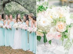 Sea glass floor length bridesmaid dresses at a chic, romantic and elegant May wedding in Charleston at The Legare Waring House. Coordinated and designed by Sweetgrass Social, florals by Branch Design and photographed by natural light wedding photographers Aaron and Jillian Photography based in South Carolina.