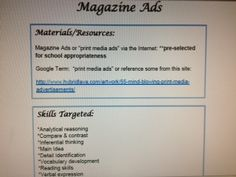 "Middle and High School Activities! Love this! ""Magazine Ads"" Activity-Provides materials/resource for activity, lists skills targeted, Instructions, & teaching examples. Make all folders on a flash drive from ""Speech Drive"" http://www.speechdrive.net/therapy-ideas-for-adolescents.html. Pinned by SOS Inc. Resources. Follow all our boards at http://pinterest.com/sostherapy for therapy resources."