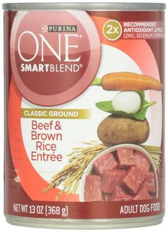 Purina ONE Beef and Brown Rice Adult Can Dog Food, 13 Oz * More info could be found at the image url. (This is an affiliate link and I receive a commission for the sales) Canned Dog Food, Canned Chicken, Chicken And Brown Rice, Dog Food Brands, Dog Rooms, Dog Food Recipes, Entrees, Image Dog, Ground Beef