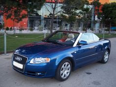 New Car Avalaible in Barcelona:  AUDI A4 1.8 Turbo Cabrio  Colour: Blue  Doors: 2  Fuel: Petrol  Engine Power: 163 BHP  Transmission: Manual  Vehicle specifications:  Beige leather interior, Xenon, headlight wipers, alloys, Telephone kit, Multifunction leather steering wheel, iPod connection, USB connection, mist lights.