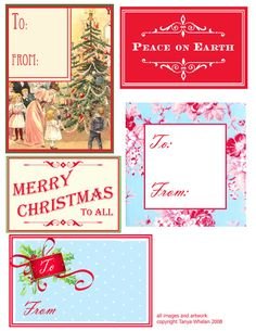 Free Christmas Gift Tags and Labels, plan to print on reused paper grocery bags....then cut & hot glue to gifts :)  jcn