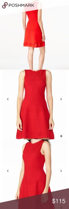 Armani Exchange Red Stitch Detail Knit Dress XS Armani Exchange Stitch Detail Knit Fit and Flare Dress. Size XS. NWT. Sleeveless. Crew neck. No flaws, band new. Smoke free home. Offers welcome. Armani Exchange Dresses