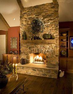 Stone Veneer Fireplace, Stone Fireplace Designs, Stone Fireplace Surround, Stacked Stone Fireplaces, Rustic Fireplaces, Stacked Rock Fireplace, Hearth Stone, Concrete Fireplace, Country Fireplace