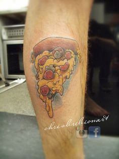 """Answering the question: """"what's the funniest thing you've tattooed?""""  Well, how about a pizza slice?!    http://instagram.com/chrisbrebionart/ https://www.facebook.com/ChrisBrebionArt"""